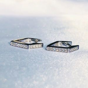 "New! ""Gia"" Silver Studded Triangle Hoop Earrings"